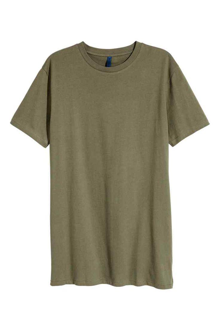 T-shirt long - Vert kaki - HOMME | H&M FR