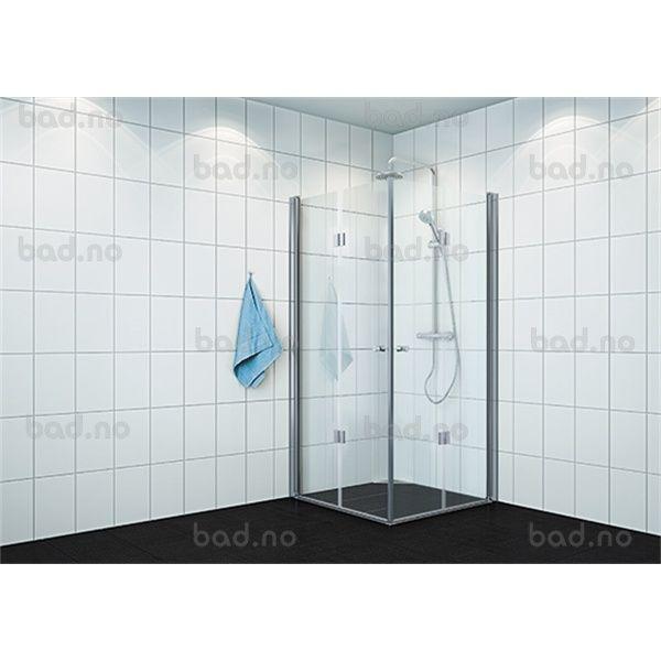 VikingBad dusjhj leddet 70x100cm H Klart glass,sølv 195 | Bad.no // 5 459,-