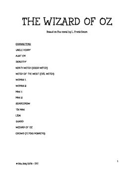 A simplified adaptation of L. Frank Baum's classic - The Wizard of Oz!This script can be used in the classroom for reader's theater or for a school play at the primary/elementary level. It consists of 6 scenes in 40 minutes. Thank you for your support if please comment if you enjoyed this purchase!
