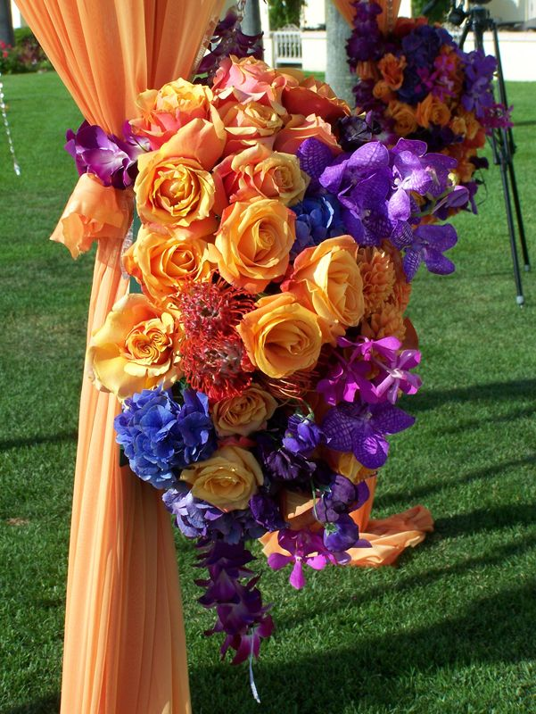 Orange And Purple Flowers On A Canopy