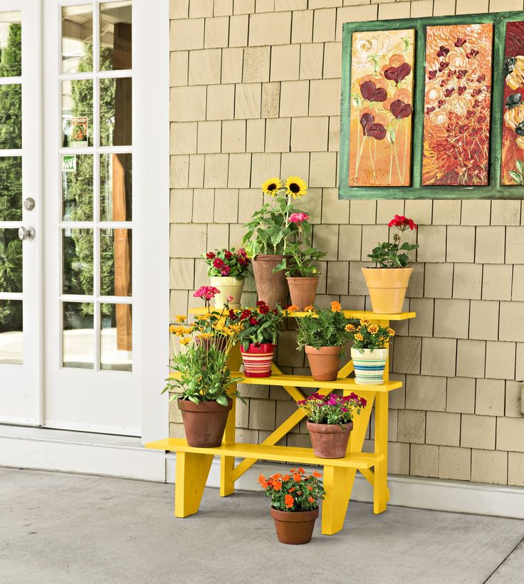 Create a multilevel container garden that'll pop on your front porch