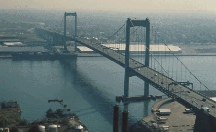 The Walt Whitman Bridge is a green-colored single-level suspension bridge spanning the Delaware River from Philadelphia to Gloucester City, New Jersey. Named after the poet Walt Whitman,  the Walt Whitman Bridge is one of the larger bridges on the east coast of the United States.