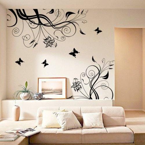 Nice easy way of decorating a room   sticker parete a forma di fiore nero su destra removibile 180*100 cm:Amazon:Casa e cucina
