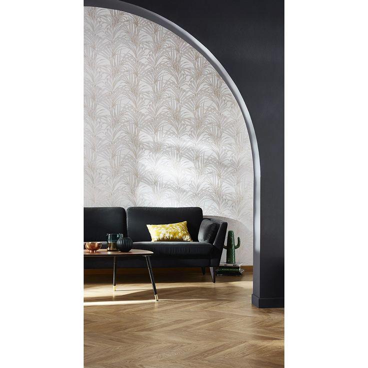 Papier peint palm 100 intissé motif tropical coquille doeuf