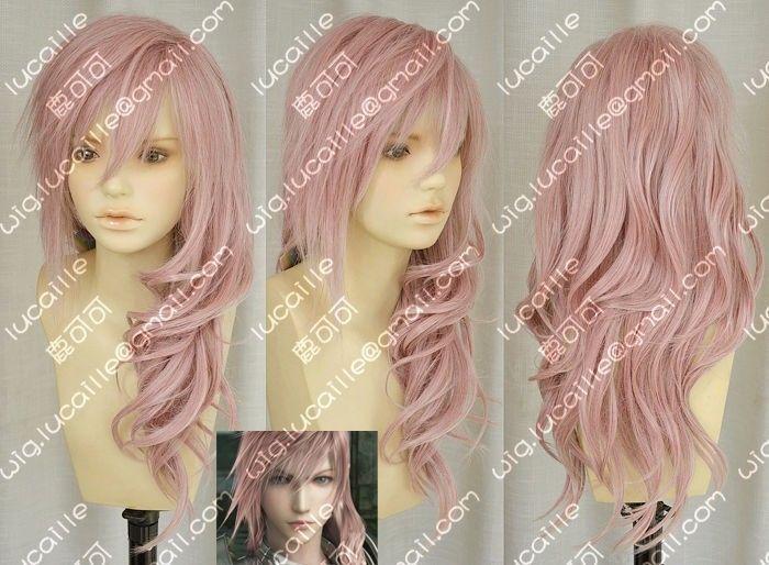 Горячая последняя фантазия 13 молнии серах новый длинная смесь розовый парик * горячая распродажа тепло - упорное благодать мать ну вечеринку женщины невеста cosplays
