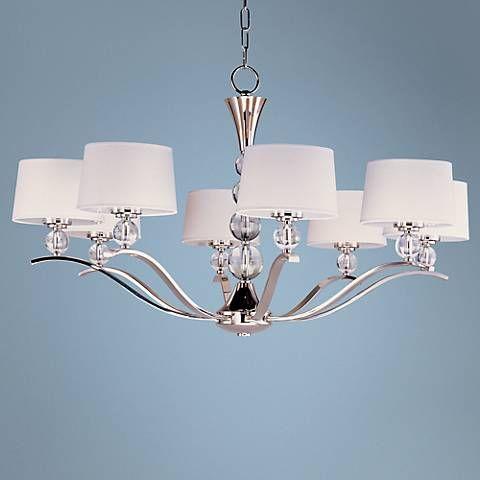 "Maxim Rondo Nickel Finish 38 3/4"" Wide 8-Light Chandelier - #U5448 | Lamps Plus"