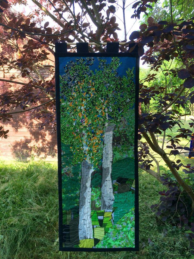 Birches; quilting and confetti technic, 43x101 cm