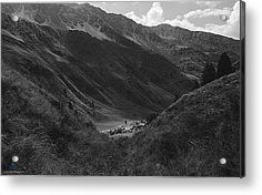 Hugged By The Mountains Acrylic Print by Cesare Bargiggia