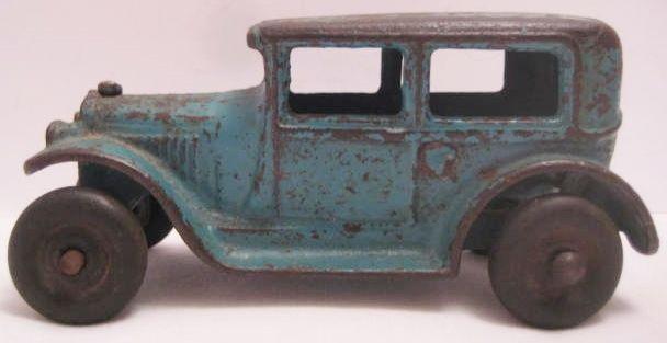 """Unusual Antique Cast Iron Toy Car Ford Model A Sedan 4"""" Arcade 1920s"""