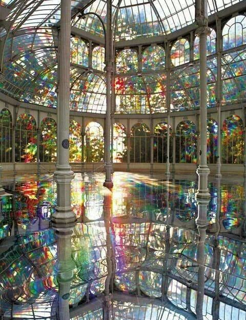 The Crystal Palace, Madrid, Spain displays literal transparency, as well. the reflecting pool enhances the experiential qualities of the space by making the light illusory.
