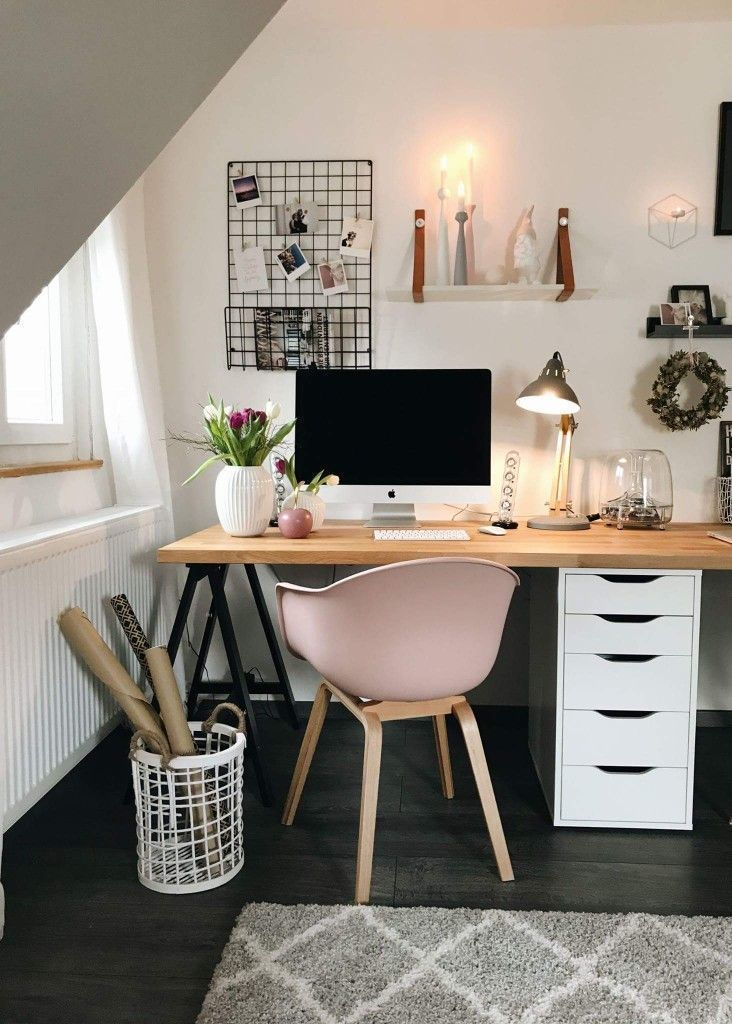 33 Comfy Workspace Decor Ideas For Your Home On Budget Brown Rooms Home Office Design Cute Desk Decor
