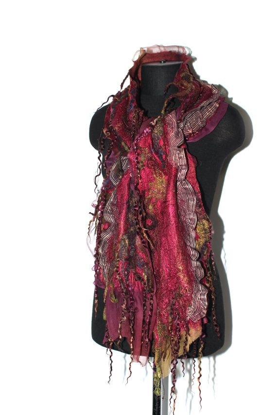 RESERVED Nuno Felted Scarf Long Textured Merino by FeltedPleasure, $129.00