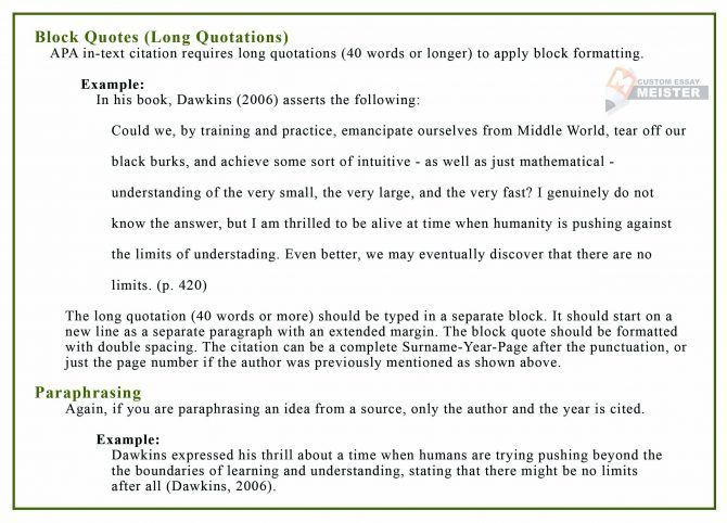Apa 6th Edition Paraphrasing Examples Quoting Website Purdue Be An Example Quotes Block Quotes Text Quotes