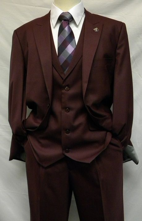 Stacy Adams Burgundy 1920s Mart Vested Solid 3 Piece Suits 4015-175