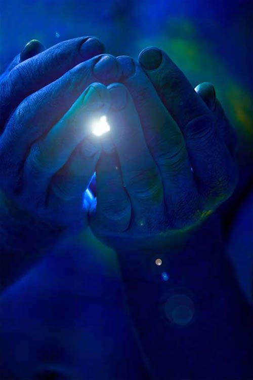 Healing Hands.  When we are clear and clean, we can channel energy through our hands to heal.  Color visualization of blue to heal corruption and green to heal (and heal corruption of a different nature) speed healing.  Imagine St. Michael's Fire Blue - the color a deep cobalt blue glass would be if held to the Sun, and the green in a rainbow ~Johan Adkins