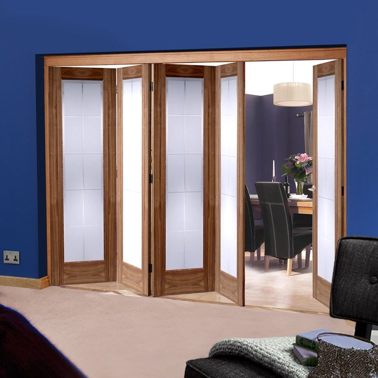 Folding Nuvu Roomfold Seville Walnut 5 Door Set with Frosted Glass, 2078mm high and 3502mm wide. #walnutglazedfoldingdoors #internalwalnutfoldingdoors #nuvuwalnutglazeddoors