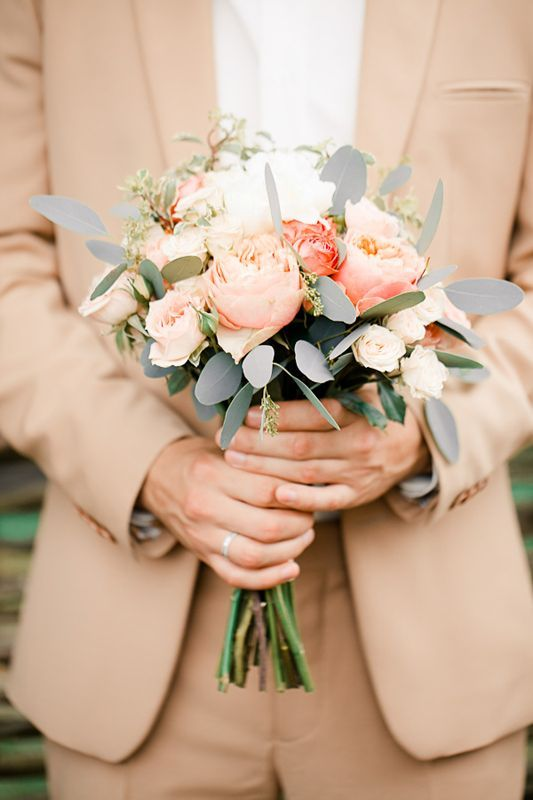 Grey and peach wedding bouquet | http://fabmood.com/grey-and-peach-wedding-bouquet/  Love the fluttery grayish leaves