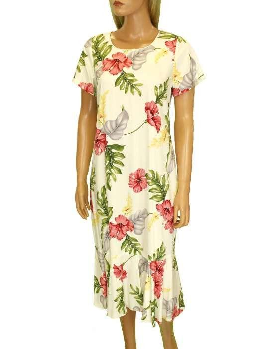 Mid-Length Flower Hawaiian Dress - Lanai Design