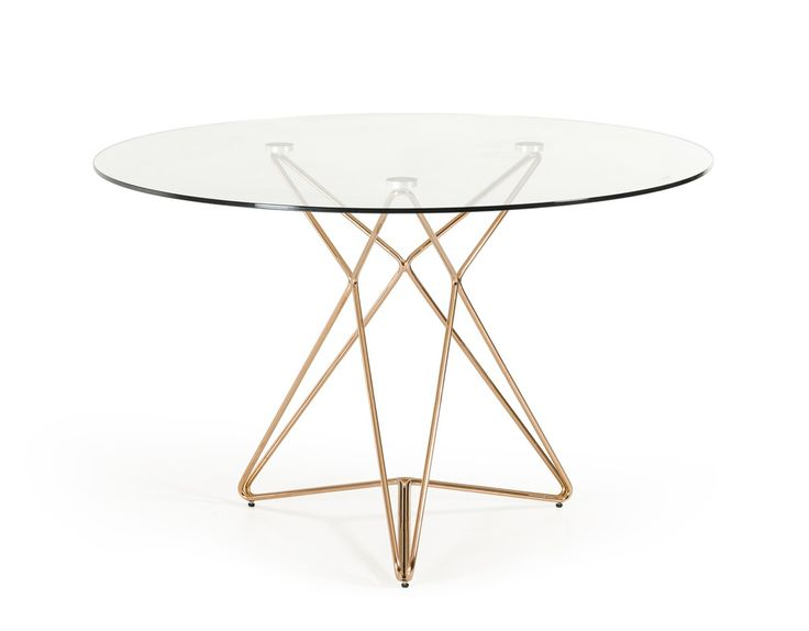 Modrest Ashland Mid Century Glass Round Dining Table