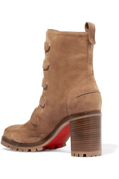 Christian Louboutin - Who Walks Buckled Suede Ankle Boots - Tan - IT37.5