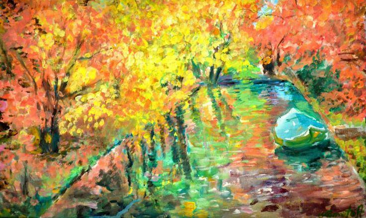 acrilic on canvas: River boat 30x50