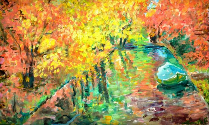 acrilic on canvas: River boat 30x50