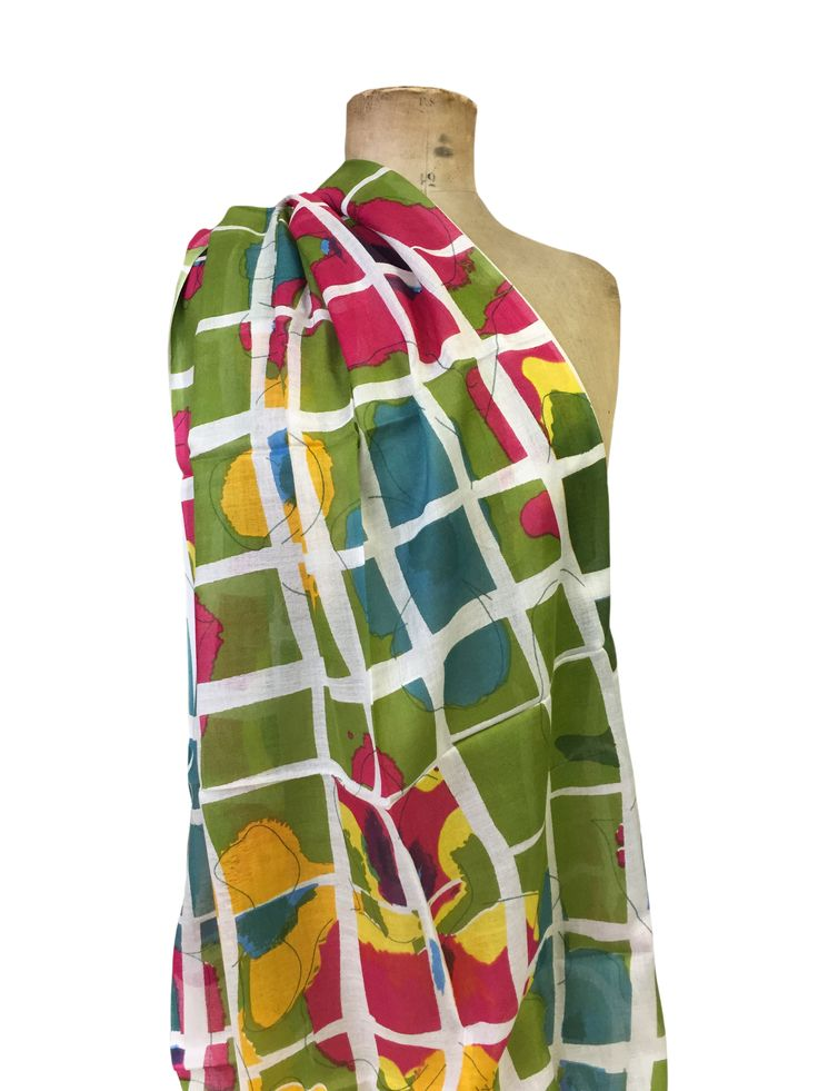 Eula - flower Hem&Edge scarf with grid detail #lime #multi 100% modal 80x180cm #gorgeousgreens #scarf #accessories #onebutton #hemandedge Click to buy from the One Button shop.