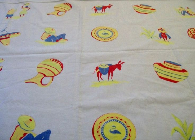 Vintage Southwestern Tablecloth, Southwestern Themed Tablecloth, 1950s Tablecloth, Red Yellow and Blue - pinned by pin4etsy.com