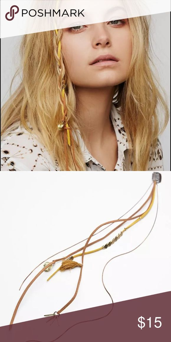 Free People desert night braid clip in Boho fringe Run this edgy braid in through your strands to add a subtle pop to your locks. Microfiber suede cord dripping with plated brass metal chains. Clips easily into hair.  Plated Brass Microfiber Suede. Still in the packaging, brand tag is marked through Free People Accessories Hair Accessories