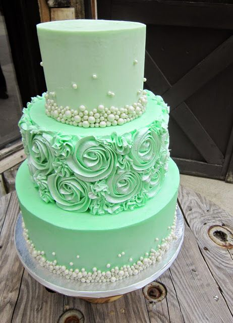 Delectable Cakes: Mint Green Rose Swirl Wedding Cake