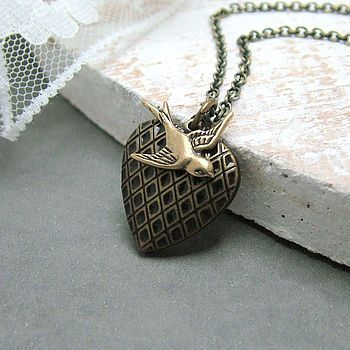 Brass Bird And Heart Locket Necklace