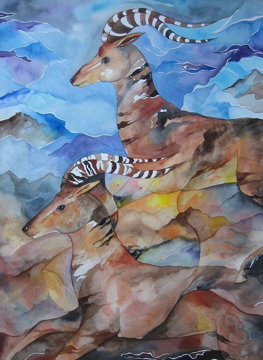 Akvarel af Mette Hansgaard 90 x 70 cm