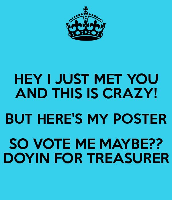 Treasurer Poster Ideas | Is Crazy But Here S My Poster So Vote Me Maybe Doyin For Treasurer ...