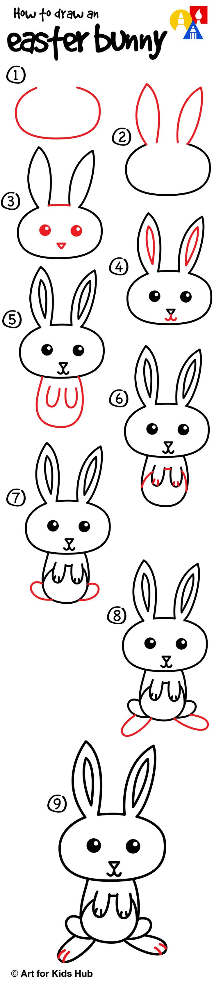 How To Draw A Cartoon Easter Bunny  Art For Kids Hub