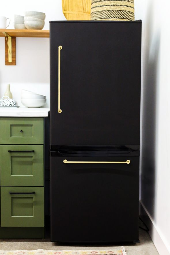Studio Fridge 2 Genius Diy Painted Refrigerator With Glued On Brass Handles Fridge Makeover Cheap Appliances Black Fridges