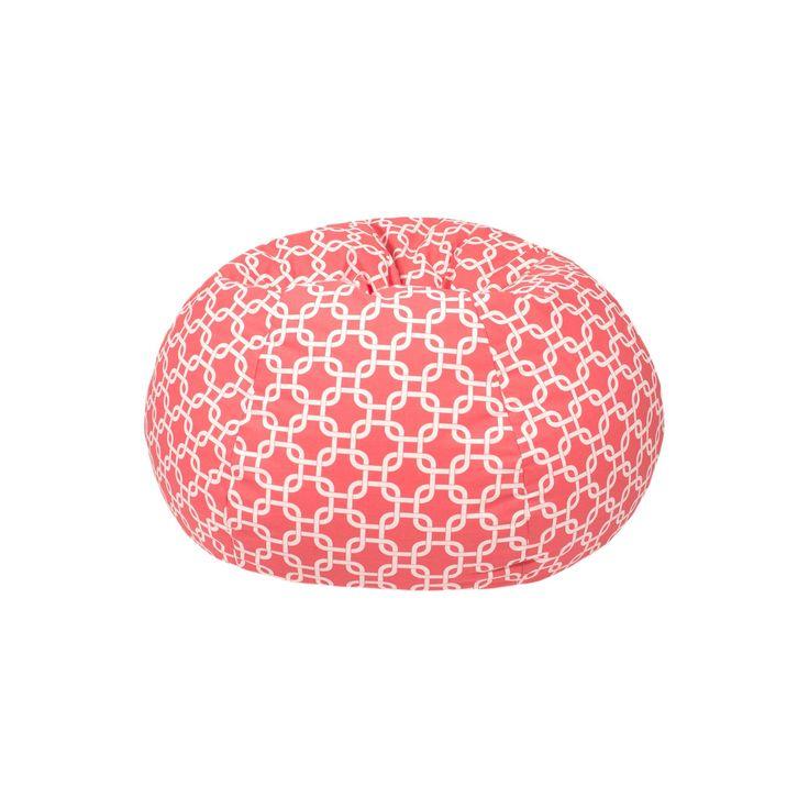 Medium Gotcha Hatch Print Pattern Bean Bag Chair - Coral (Pink) - Gold Medal