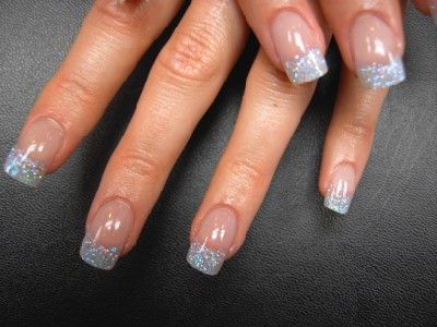 Acrylic Nail Designs French Tip | Silver Glitter Tip Nails ...