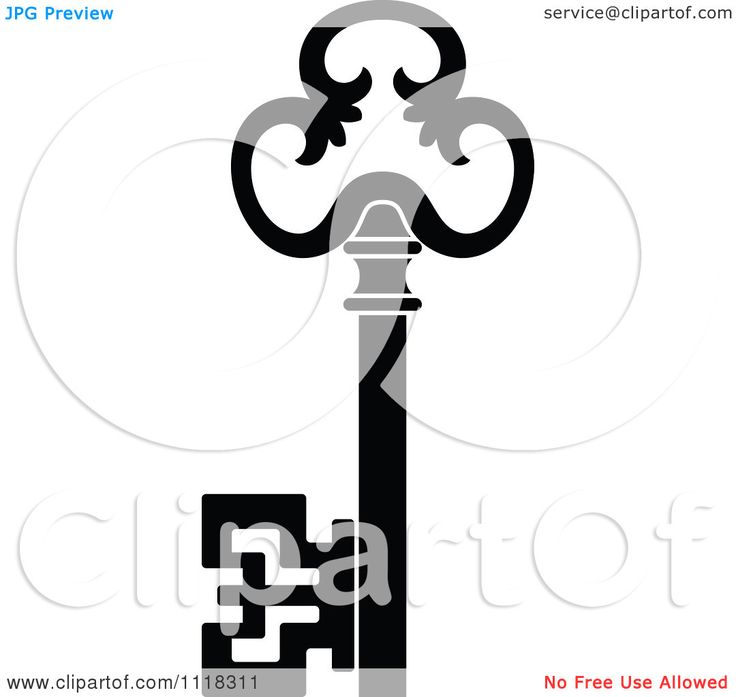 Clipart Of A Black And White Antique Skeleton Key 8