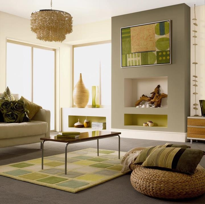 Swap tried and tested magnolia for neutral green and cream for Neutral green living room