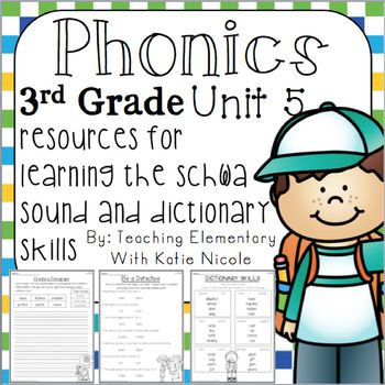Third Grade Phonics Program, Unit 5 Resources to help your students work on understanding the schwa spelling and dictionary skills Included in this purchase you will find: 15 worksheets that -enable your students to practice spelling sight words & words with the schwa                  sound-give your students practice with dictionary skills -provide students with practice writing sentences and paragraphs -are fun and exciting for students32 cards with sentences that focus on the skills in...