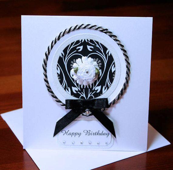 Happy Birthday Card Hand Made 300gsm White by CardsbyCoralJean