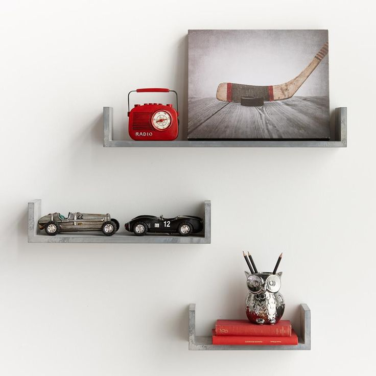 Set of 3 Cement-Like Shelves