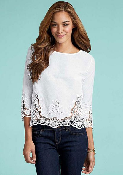 "Aliya Blouse - 40 to 42 bucks. ALLOY. 4 stars. only in white. three-quarter sleeve eyelet blouse that is 20"" long. cotton."