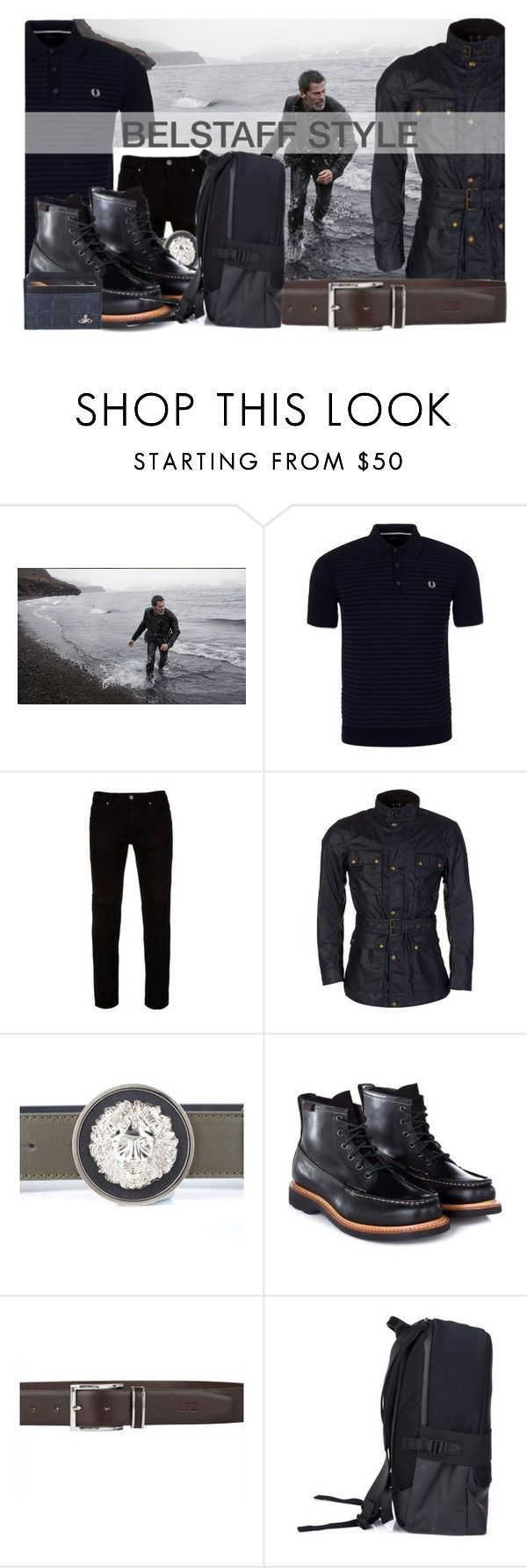 """Belstaff Style"" by zeeandcoltd ❤ liked on Polyvore featuring Fred Perry, Belstaff, Vivienne Westwood, men's fashion, menswear, versace, viviennewestwood, fredperry, belstaff and ghbass"