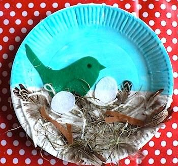 DIY Kids Crafts : DIY Spring Bird's Nest Paper Plate Craft