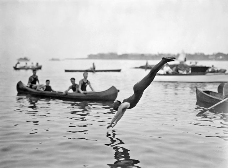 Josephine Bartlett at women's swimming contests at Sheepshead Bay, Brooklyn, New York City, July 16, 1914