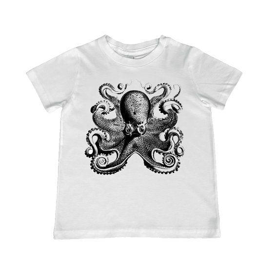 Child Vintage Octopus illustration TShirt  color by lesleyhornbeck, $10.00: Octopus Illustration,  T-Shirt, Jersey,  Tees Shirts, Octopuses Illustrations, Tshirt Color, Vintage Octopuses, Illustrations Tshirt