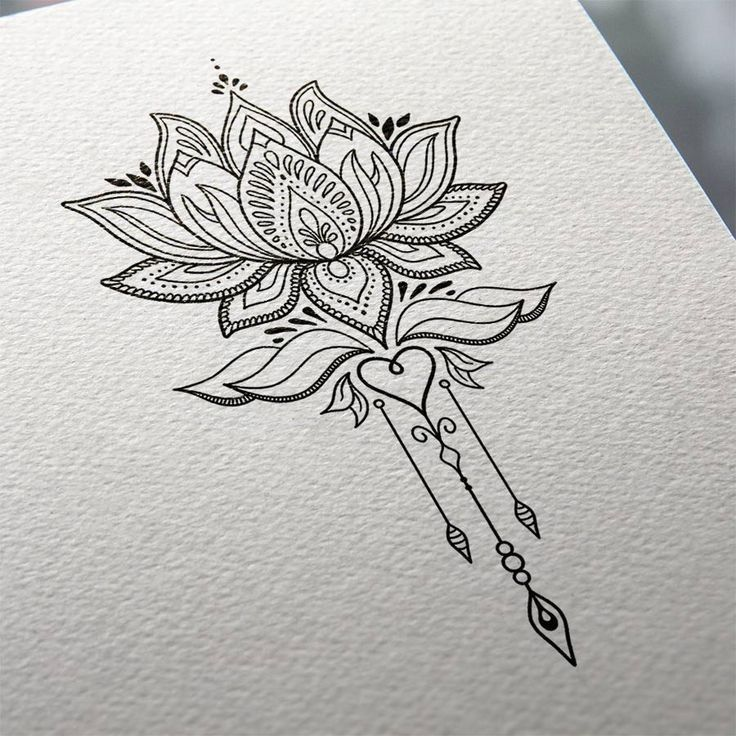 Substitute The Heart For A Crescent Moon And It Will Be Perfect Lotus Flower Tattoo Design Tattoos Flower Tattoo