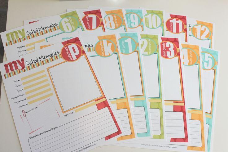 Free printable school memories pages