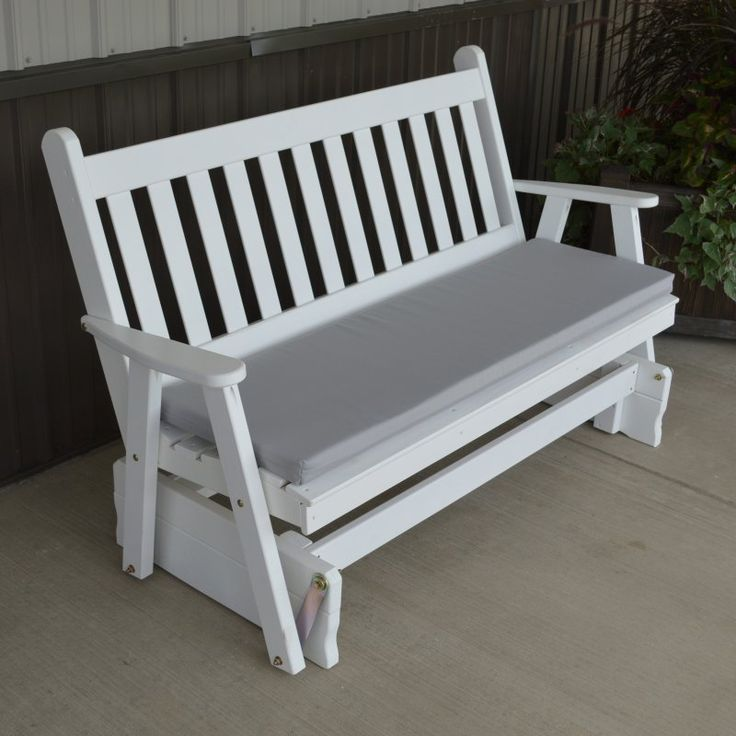 A & L Furniture Yellow Pine Traditional English Outdoor Bench Glider White - 603-WP WHITE